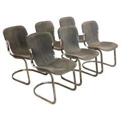 Willy Rizzo C2 70s Production Chromed Steel Frame Gray Vintage Leather Set of 6