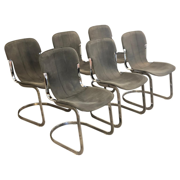 Willy Rizzo C2 70s Production Chromed Steel Frame Gray Vintage Leather Set of 6 For Sale