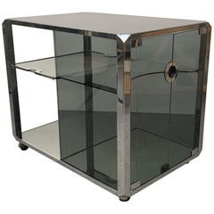 Willy Rizzo Chrome and Smoked Glass Midcentury Italian Bar Cart for Sabot, 1970s