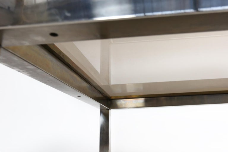 Willy Rizzo Chrome, Brass and Smoked Glass Coffee Table, Italy, 1970s For Sale 4