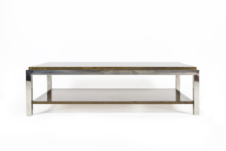 Hollywood Regency Willy Rizzo Chrome, Brass and Smoked Glass Coffee Table, Italy, 1970s For Sale
