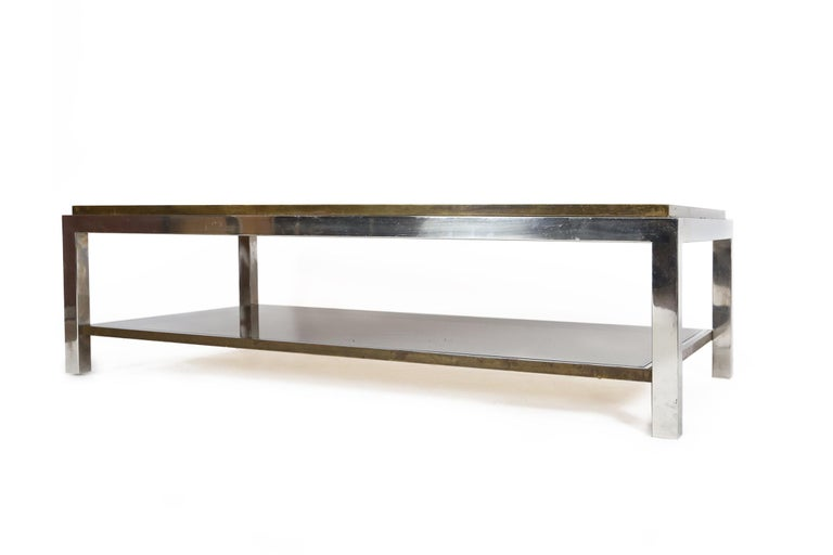 Italian Willy Rizzo Chrome, Brass and Smoked Glass Coffee Table, Italy, 1970s For Sale