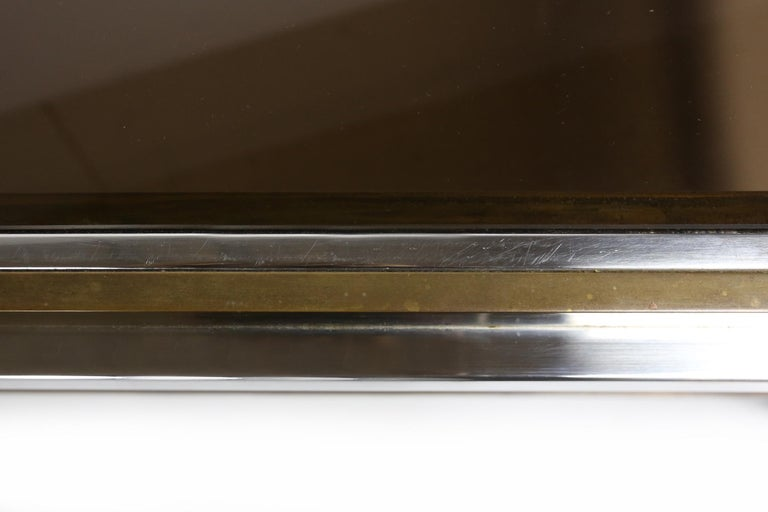 Late 20th Century Willy Rizzo Chrome, Brass and Smoked Glass Coffee Table, Italy, 1970s For Sale