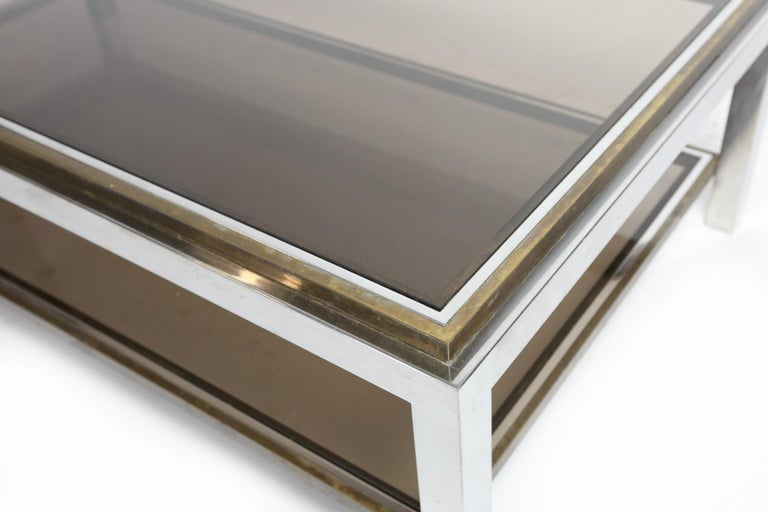 Willy Rizzo Chrome, Brass and Smoked Glass Coffee Table, Italy, 1970s For Sale 1