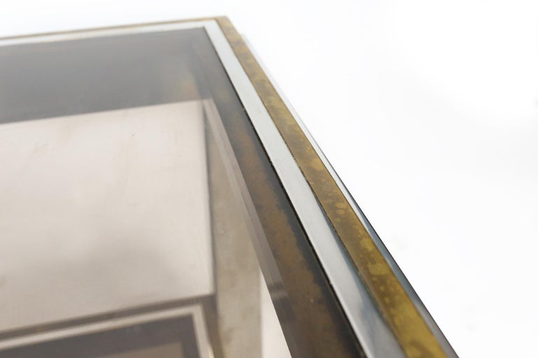 Willy Rizzo Chrome, Brass and Smoked Glass Coffee Table, Italy, 1970s For Sale 3