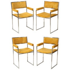 Willy Rizzo Chrome & Yellow Suede Signed SQ-BR Armchairs, Italy 1970s