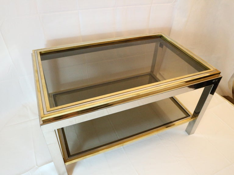Willy Rizzo, 1970s Coffee Table in Brass, Chrome and Glass 3