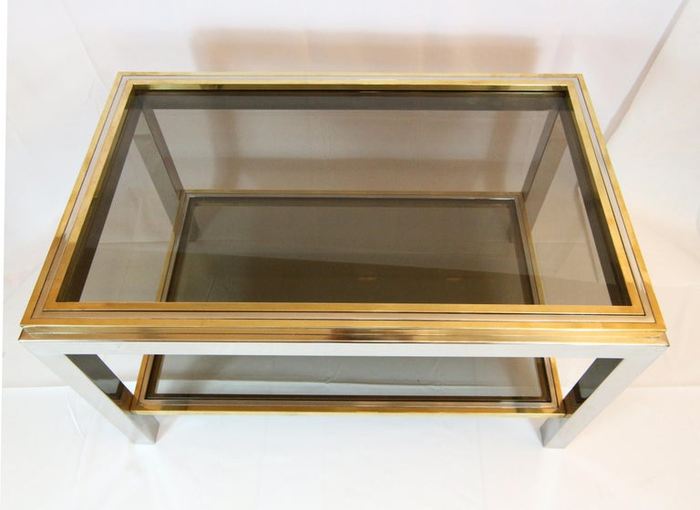 Willy Rizzo, 1970s Coffee Table in Brass, Chrome and Glass 4