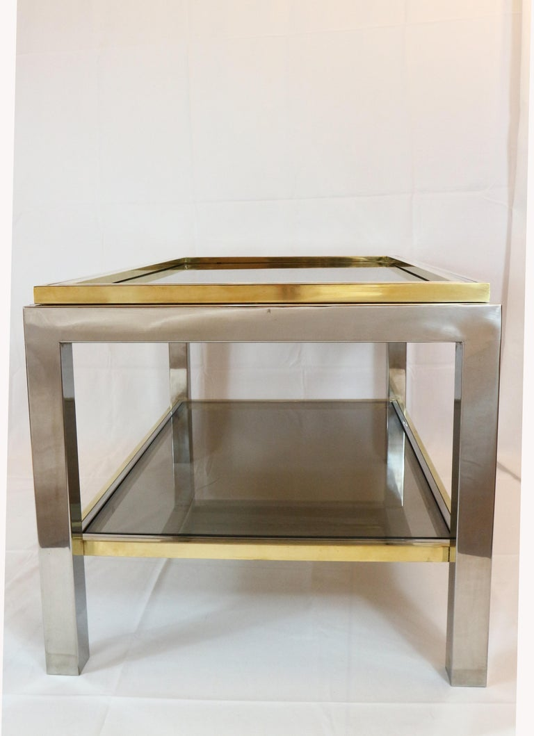 Willy Rizzo, 1970s Coffee Table in Brass, Chrome and Glass 6