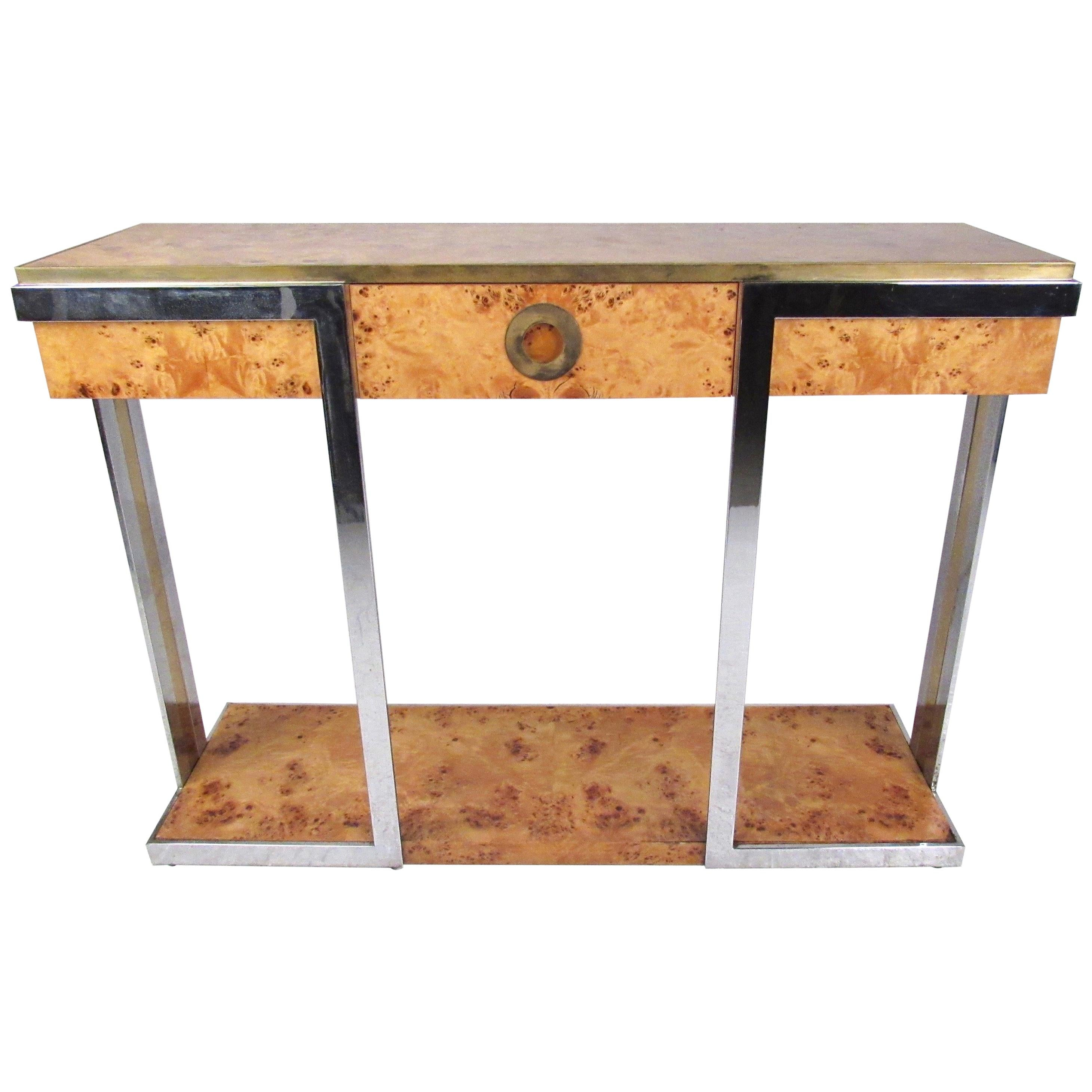 Willy Rizzo Console Table in Burlwood and Brass by Mario Sabot