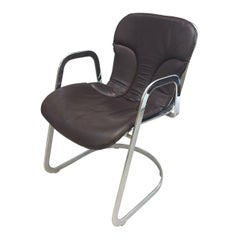 Willy Rizzo Dining Chair Chrome with Chocolate Leather Seat Cushion