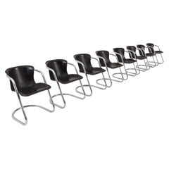 Willy Rizzo Dining Chair with Leather Seats for Cidue, Set of 8