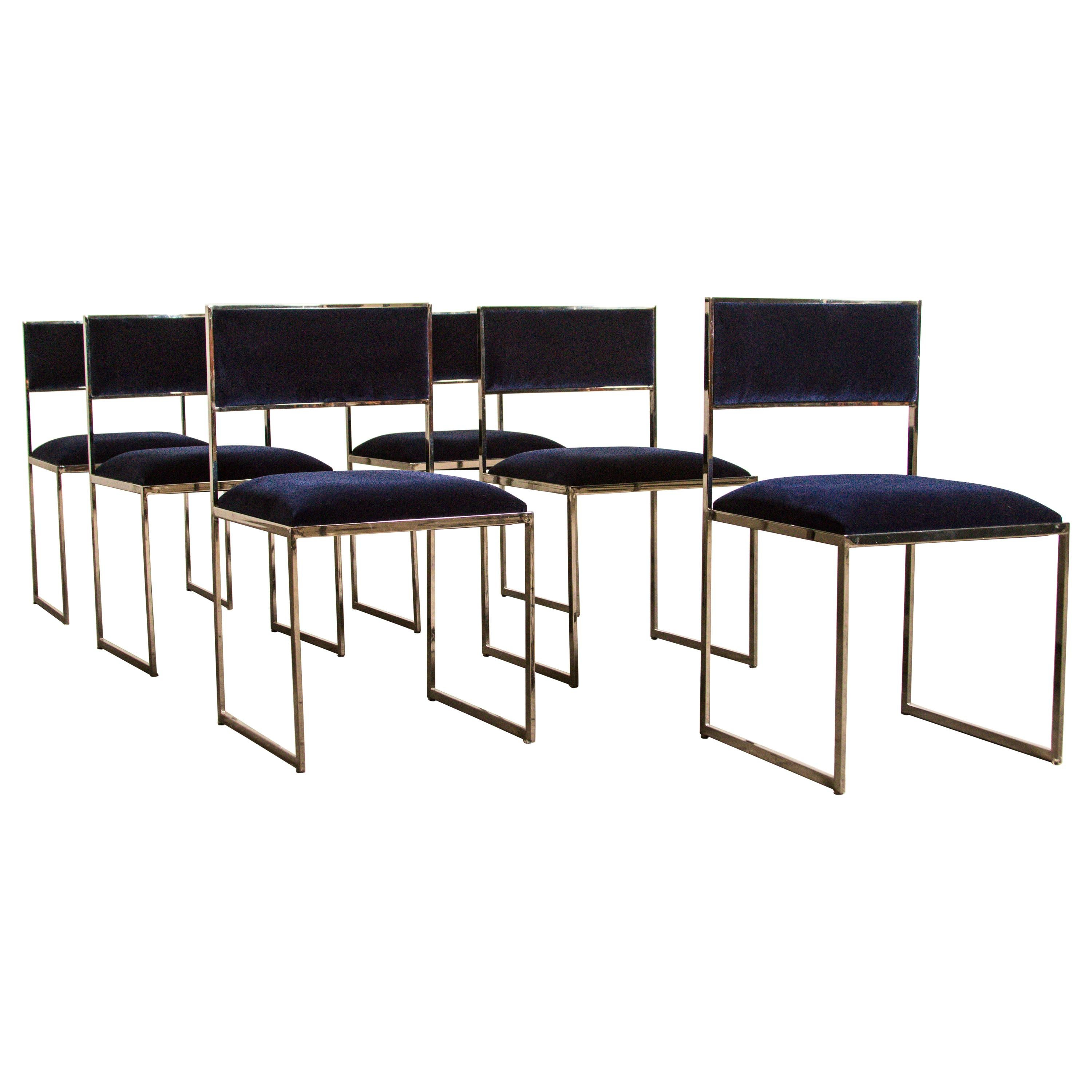 Willy Rizzo Dining Chairs, Set of 6, 1970, Italy