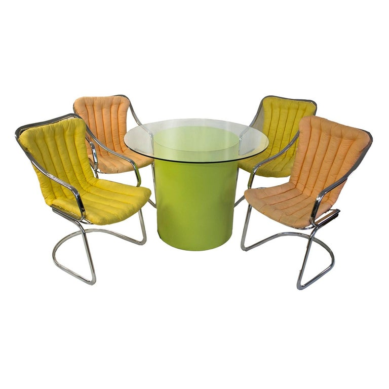 Willy Rizzo Dining Set Table and Chairs For Sale 2