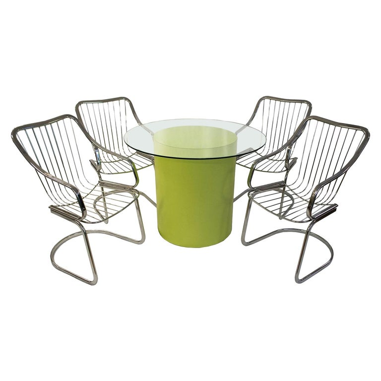 Willy Rizzo Dining Set Table and Chairs For Sale