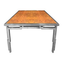 Willy Rizzo Dining Table in Chrome and Burl Wood, 1970s