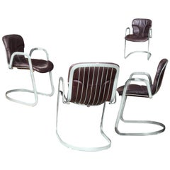 Willy Rizzo for Cidue Italia Postmodern Chrome and Leather Dining Side Armchairs