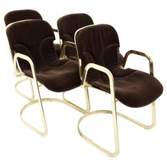 Willy Rizzo for Cidue Mid Century Italian Brass Cantilever Chair, Set of 4