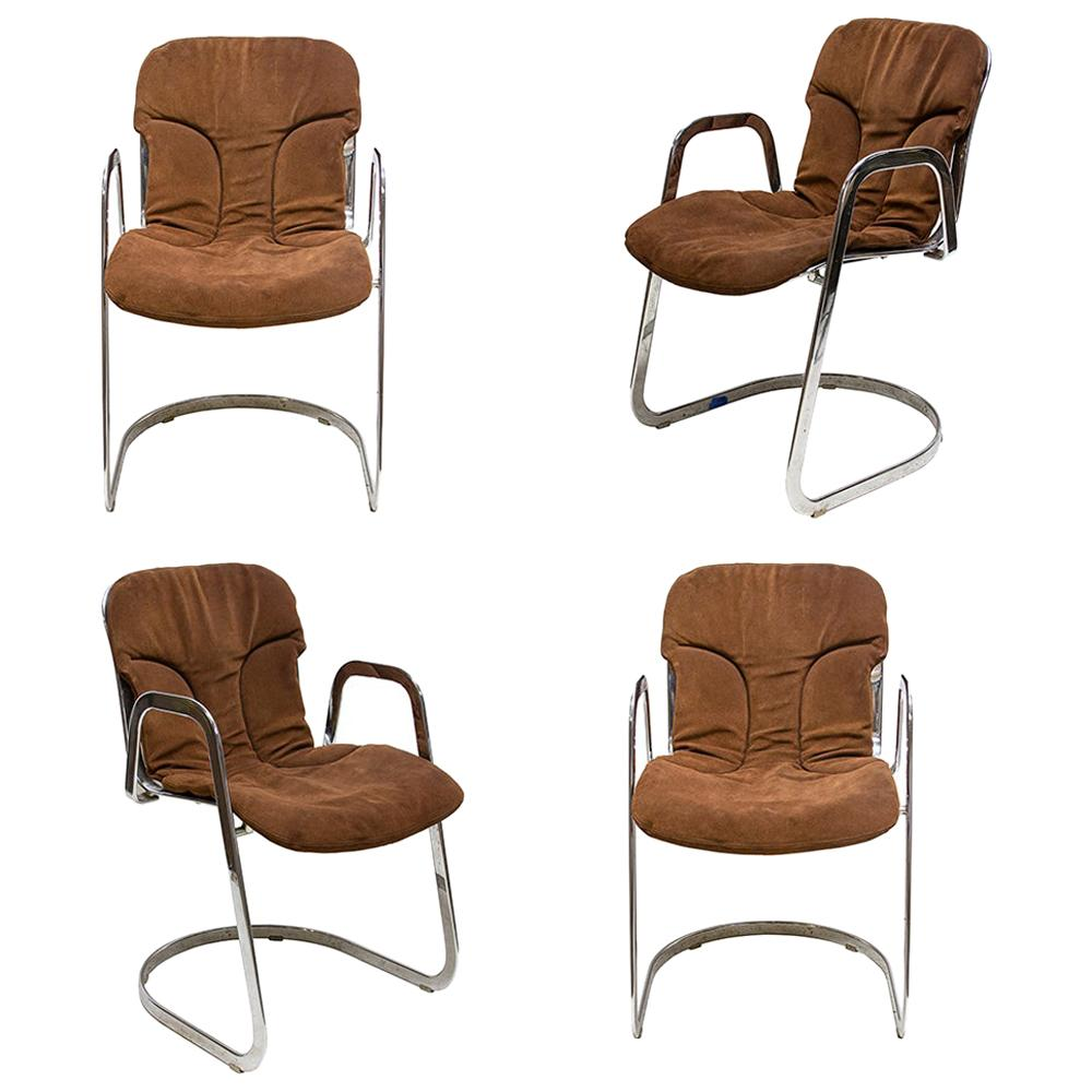 Willy Rizzo for Cidue Suede Chairs 'Set of 4'