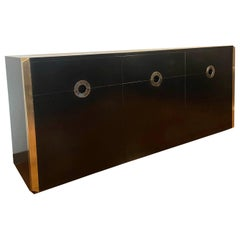 Willy Rizzo for Mario Sabot Black Sideboard, Italy, 1974