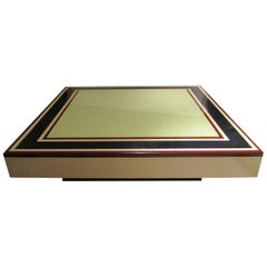 Willy Rizzo, Lacquered Colors Midcentury Signed Coffee Table, Italy, 1970
