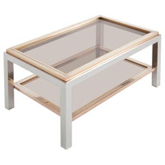 Willy Rizzo Linea Flaminia Coffee Table in Brass, Chrome and Glass