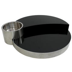 Willy Rizzo Midcentury Black Melamine and Molded Steel Coffee Italian Table