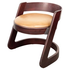 Willy Rizzo Midcentury Italian Chair Wood and Leather for Mario Sabot, 1970s