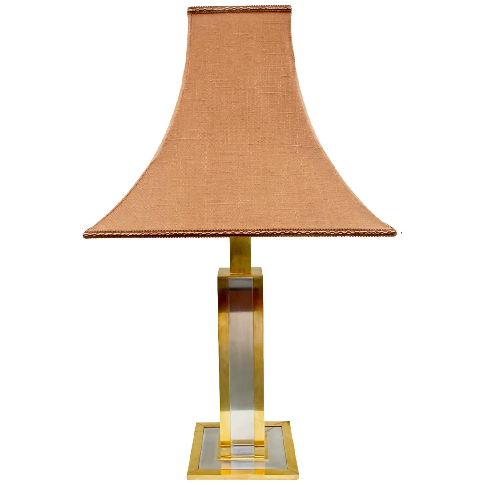 Willy Rizzo Mid-Century Modern Italian Brass and Chrome Table Lamp, 1970s