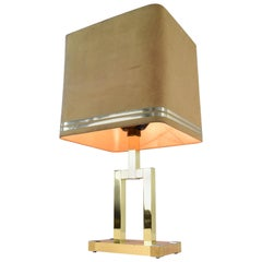 Willy Rizzo Mid-Century Modern Italian Brass Table Lamp by Lumica, 1970