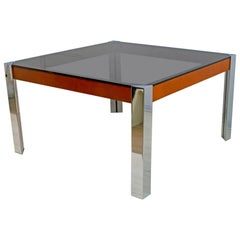 Willy Rizzo Mid-Century Modern Italian Chrome and Leather Dining Table, 1970s