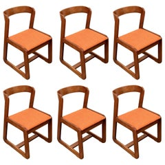 Willy Rizzo Midcentury Italian Wooden and Orange Fabric Chairs, Mario Sabot 1970
