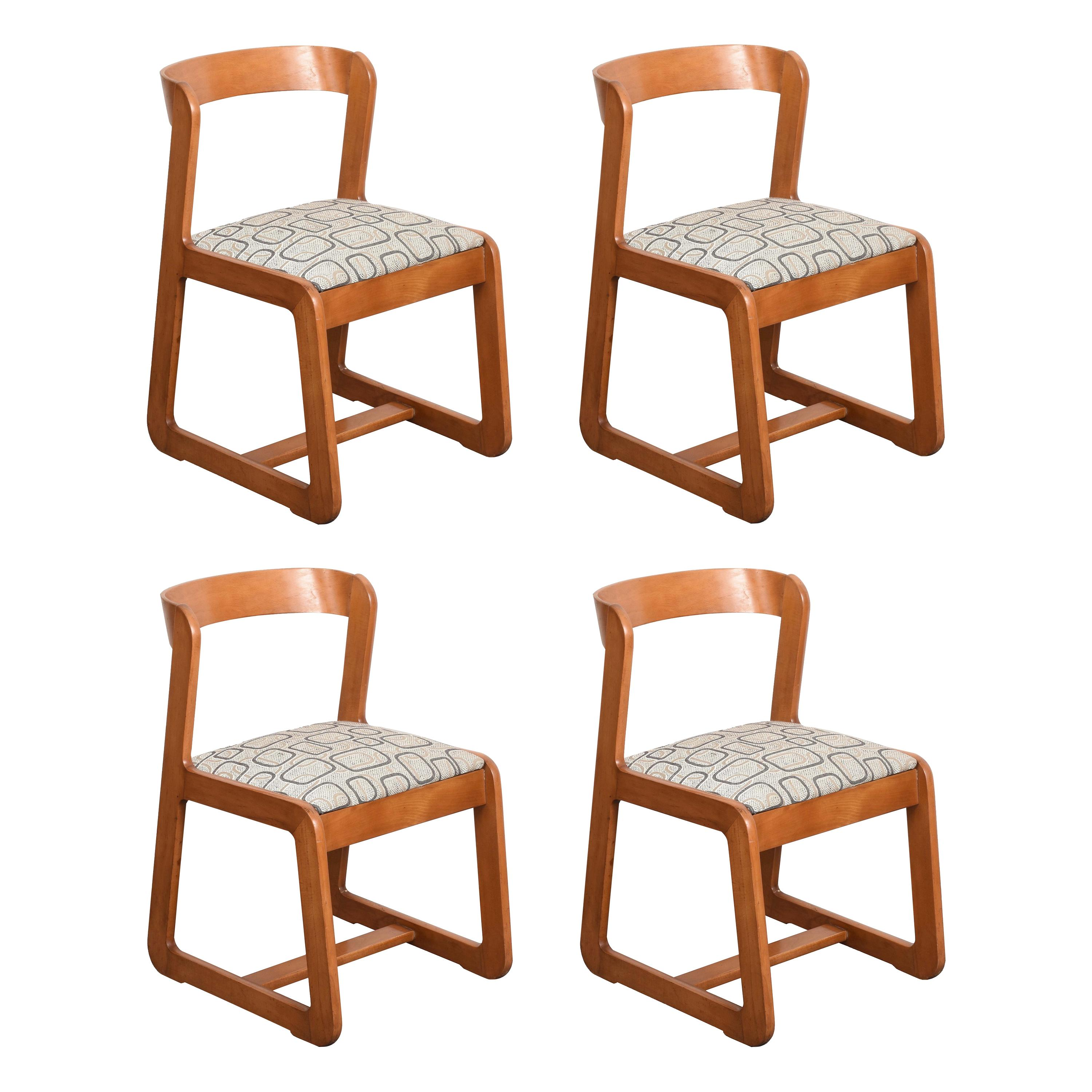 Willy Rizzo Midcentury Wooden and Fabric Italian Chairs for Mario Sabot, 1970