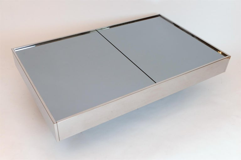 Italian Willy Rizzo Mirrored Bar / Table, circa 1970 For Sale