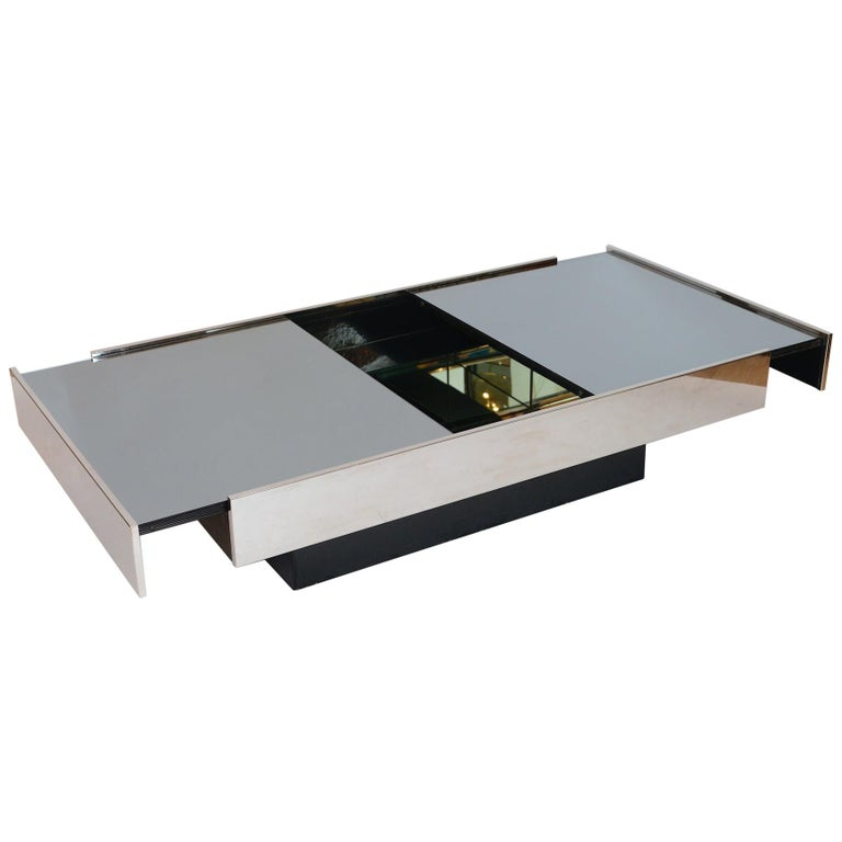 Willy Rizzo Mirrored Bar / Table, circa 1970 For Sale