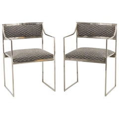 Willy Rizzo, Pair of Chromed Metal Armchairs, 1970s