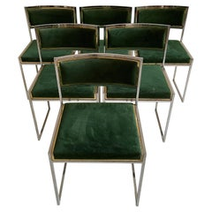 Willy Rizzo Patinated Green Suede Leather Brass Chrome Dining Chairs, Italy 1970