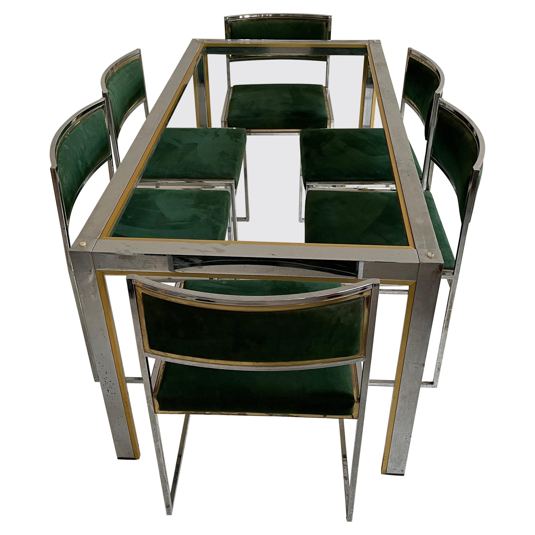 Willy Rizzo Patinated Suede Leather Brass Chrome Dining Room Set, Italy, 1970s