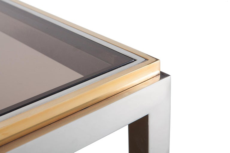Willy Rizzo Coffee Table.Willy Rizzo Rectangular Coffee Table In Brass Chrome And Glass