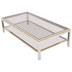 Willy Rizzo Rectangular Coffee Table in Brass, Chrome and Glass