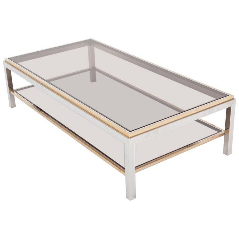 Willy Rizzo Rectangular Coffee Table In Brass, Chrome And