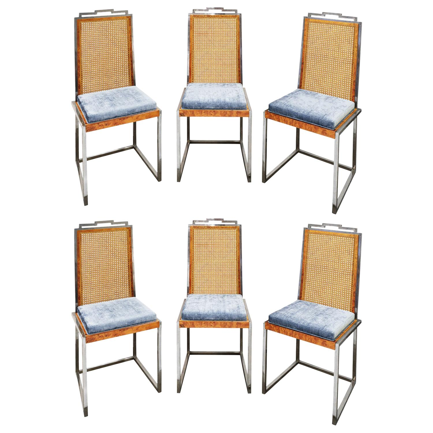 Willy Rizzo Set of 6 Dining Chairs in Chrome and Burl Wood, 1970s