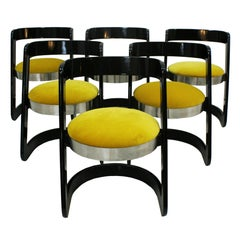 Willy Rizzo Set of Six Black Lacquered Wood and Yellow Velvet Chairs, Italy