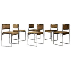 Willy Rizzo Set of Six Midcentury Chair in Brass and Chamois, 1960s