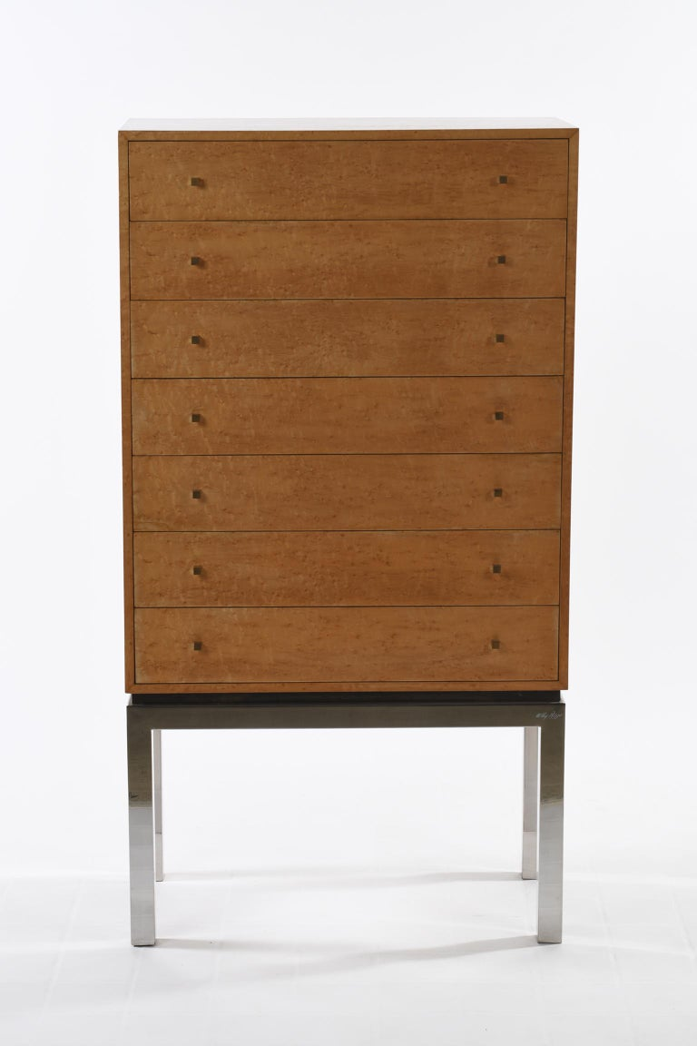 Mid-Century Modern Willy Rizzo Signed Italian Midcentury Chest of Drawers Metal Base For Sale