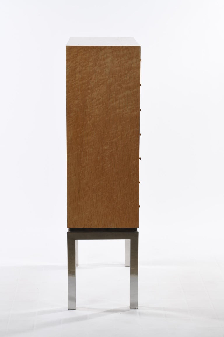 Willy Rizzo Signed Italian Midcentury Chest of Drawers Metal Base In Good Condition For Sale In Firenze, IT