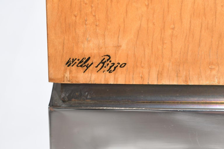 Willy Rizzo Signed Italian Midcentury Chest of Drawers Metal Base For Sale 3