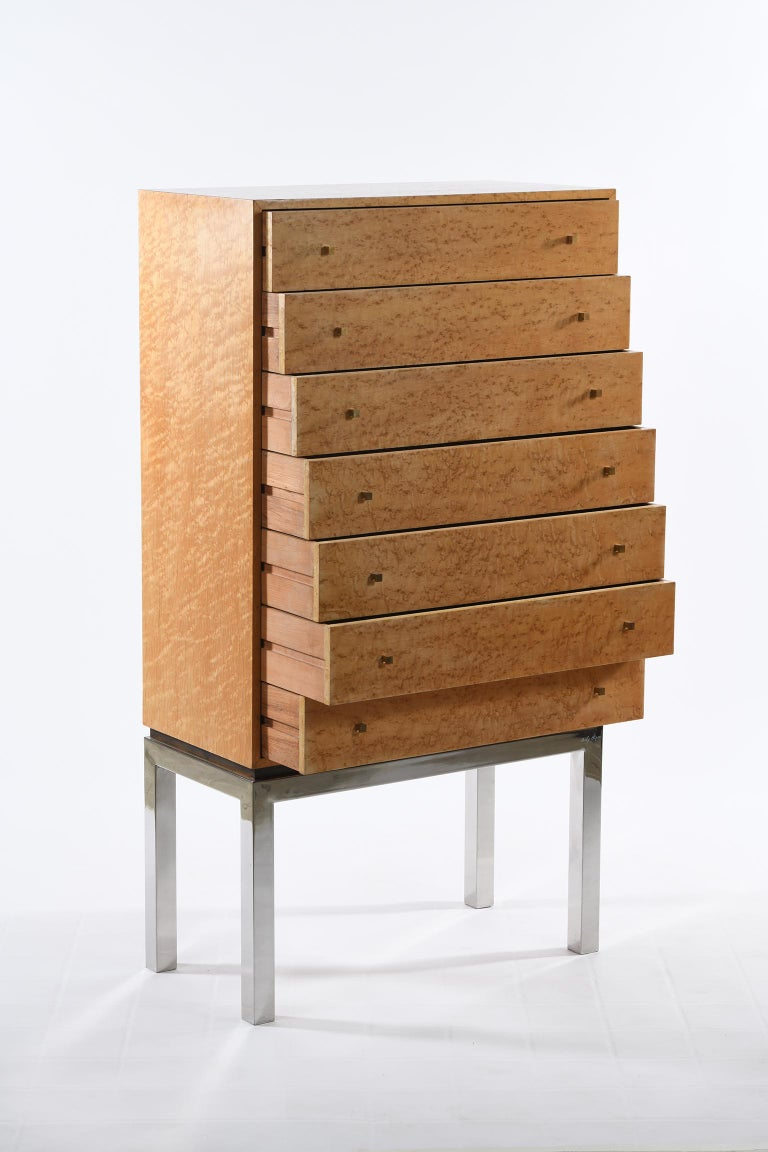 Willy Rizzo Signed Italian Midcentury Chest of Drawers Metal Base For Sale 4