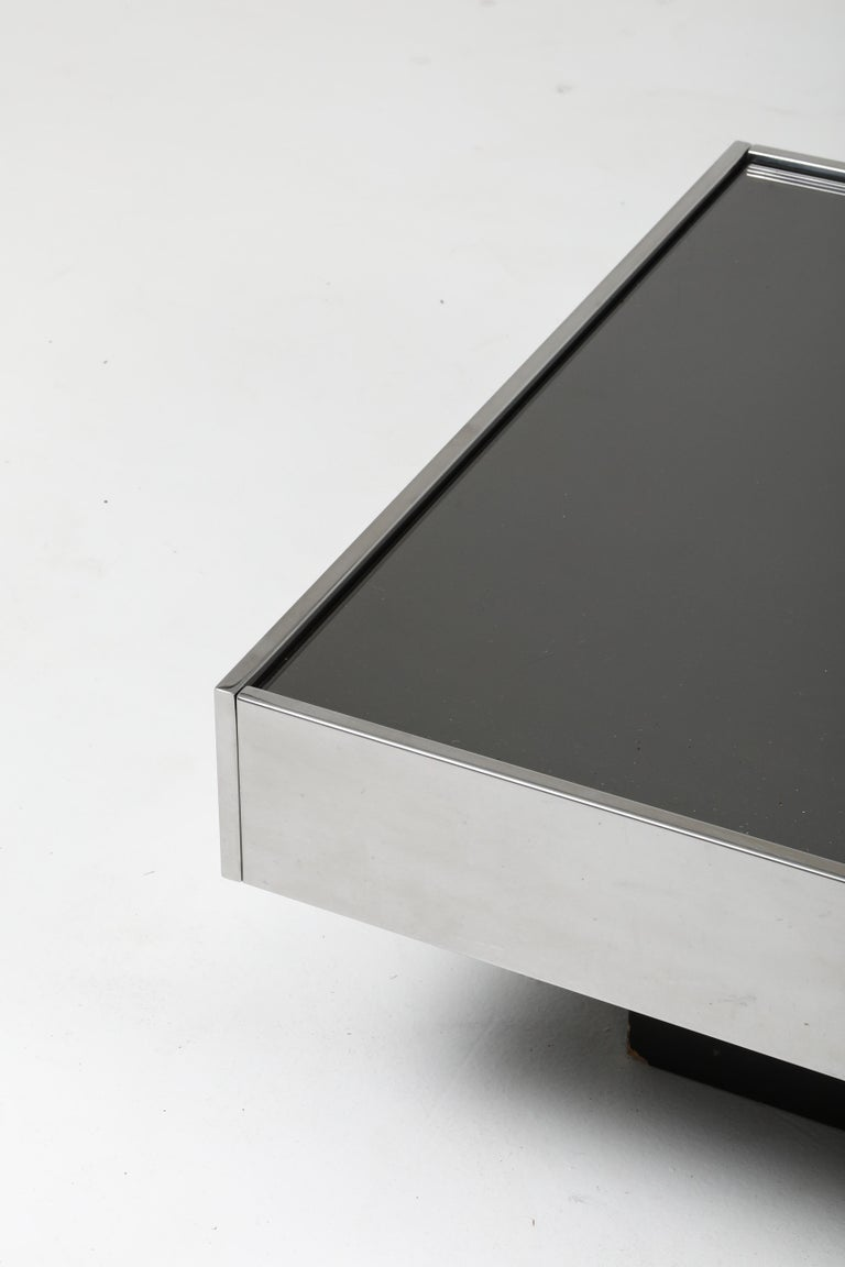 Willy Rizzo Sliding Chrome Coffee Table for Cidue, Italy, 1970s 3