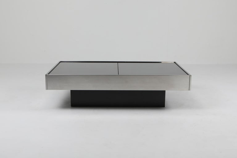 Post-Modern Willy Rizzo Sliding Chrome Coffee Table for Cidue, Italy, 1970s